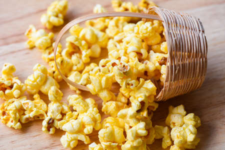 Homemade Corn Popcorn in basket, Heap of delicious popcorn sweet