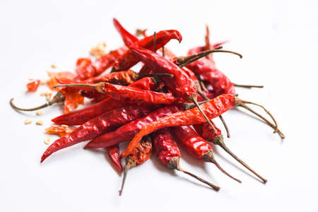 Red dried chili pepper and seed, Dried red chili or chilli cayenne pepper isolated on white background
