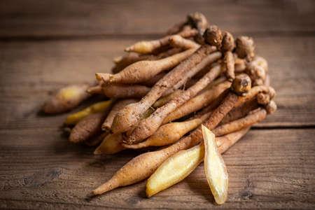 Kaempfer root for food and Thai or Chinese herbal medicine nature - Other names Fingerroot ( Chinese Ginger, Galingale, Kaempfer, Boesenbergia rotunda, Krachai ) Zdjęcie Seryjne