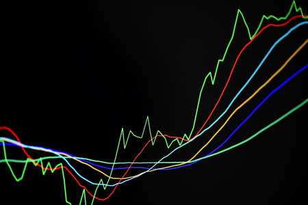 Stock trading graphic design for financial investment trade, Forex graph business or Stock graph line chart market exchange ,Technical price line with indicator on chart computer screen background