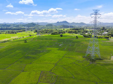 High voltage post, High voltage tower sky background on the mountain forest, Electricity poles and electric power transmission lines against countryside with green rice field Zdjęcie Seryjne