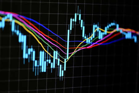 Stock trading graphic design for financial investment trade, Forex graph business or Stock graph chart market exchange ,Technical price candlestick with indicator on chart computer screen background Zdjęcie Seryjne