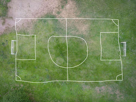 Aerial view field nature green soccer field background, top view football field from above in the countryside, Bird eye view futsal field Zdjęcie Seryjne