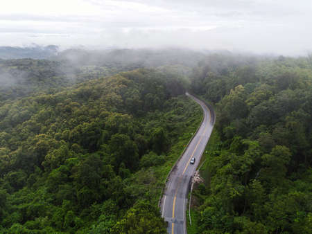 Aerial view foggy road forest tree environment nature background, mist on green forest top view foggy landscape the hill from above, wood tree road to mountain background