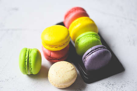 Macarons dessert small french cakes, Colorful macarons tasty sweet dessert cookie