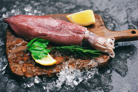 Fresh squids octopus or cuttlefish for cooked food salad restaurant, Raw squid on ice wooden cutting board with lemon parsley on the dark plate seafood market Stockfoto