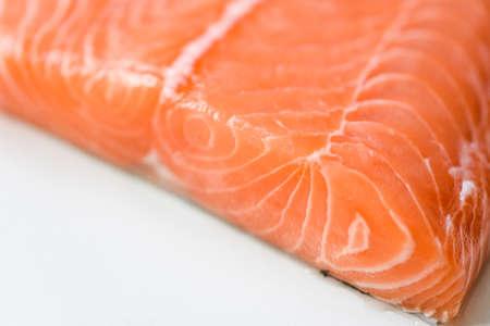 Fresh salmon fish, Close up raw salmon filet seafood for sashimi or steak Zdjęcie Seryjne