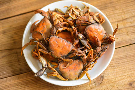 Crab steamed food, fresh crab rock wild freshwater cook on white plate, forest crab or stone crab river Stockfoto