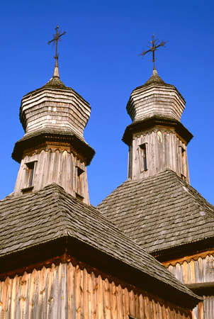 Cupolas of an old wooden church photo