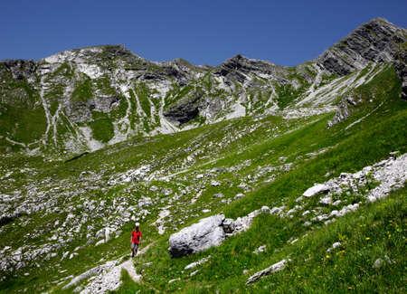 allgau: Hiker in the mountains, Allgäu Alps, Oberstdorf, Bavaria, Germany Stock Photo