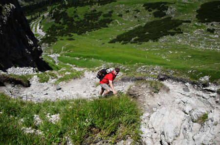allgau: Hiker in the mountains, Allgäu Alps, Oberstdorf, Bavaria, Germany
