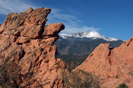 rock formation and pikes peak photo