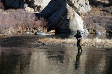 Trout stream fly fishing photo