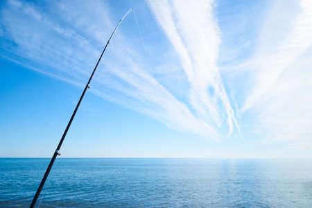 Fishing rod and seascape Zdjęcie Seryjne