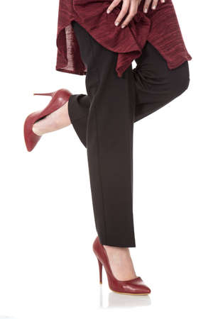Red heeled shoes Stock Photo - 122919946