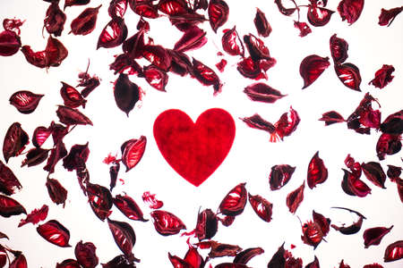 Valentines day background with red heart shape and rose petals Stok Fotoğraf