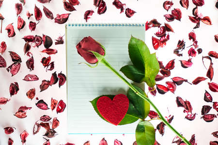 Valentines day background with a blank notepad, a stalk of red rose, a red heart shape and rose petals Stok Fotoğraf