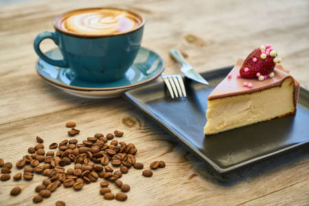 Coffee, cheesecake and cofee beans Stok Fotoğraf