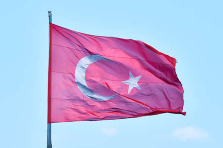 Turkish flag waiving in the air