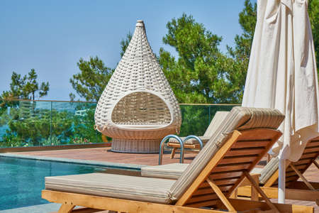 luxury hotel pool and summer vacation