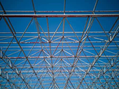 abstract metal construction and blue sky