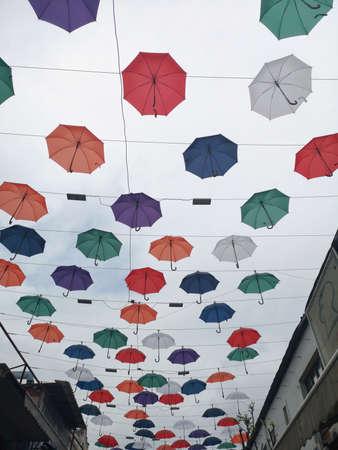 sky and decorative umbrellas background Stok Fotoğraf