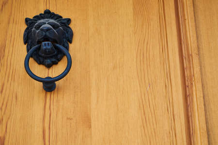 wooden old door and knocker