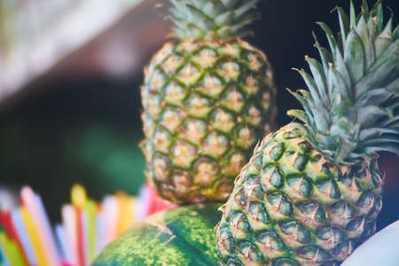 tropical pineapples at the Asia market Stok Fotoğraf