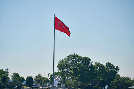 Turkish flag and blue sky background