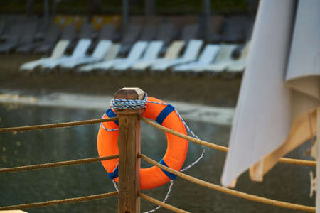 life buoy and sea background