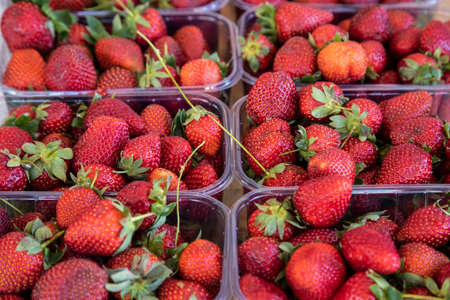 fresh and delicious strawberries at the market Imagens