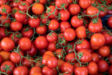 fresh and delicious tomatoes at the market Zdjęcie Seryjne