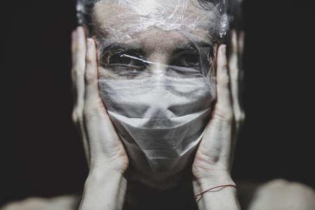 a girl wearing a coronavirus mask