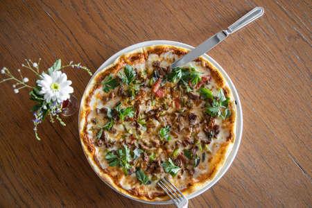 Delicious freshly baked italian pizza