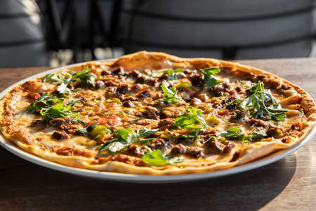 Delicious freshly baked italian pizza Stock fotó - 155450715
