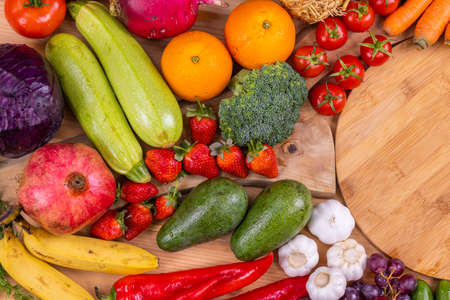 healthy, fresh, raw vegetables and fruits