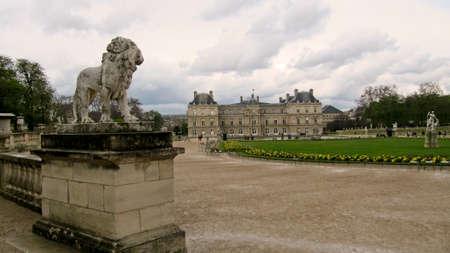 french renaissance: Luxembourg Gardens in Paris, Palais du Luxembourg.
