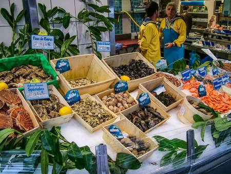 Paris, France - October 18, 2005: Street trade in seafood. Montmartre