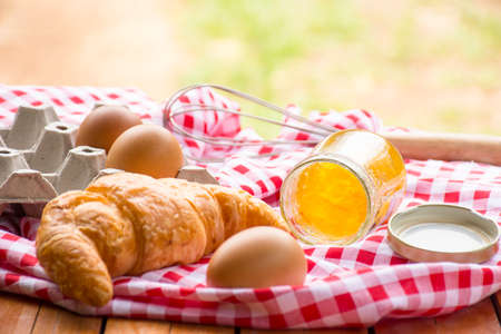 activity holiday: Bakery and Equipment on wooden background.outdoor.Background for hobby or make bakery.Background for activity holiday or food. Stock Photo