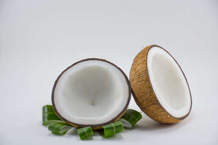 materia prima: Coconut isolated on white background for cooking or raw material or fat of food or calories and fat