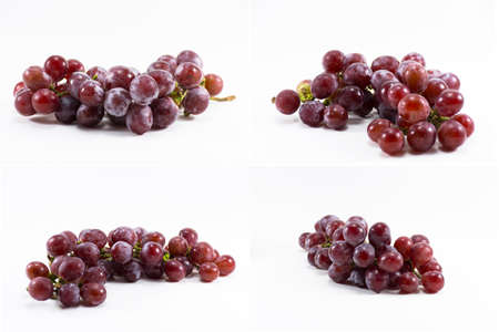 Set red grape isolated on white background.Fruit for health and raw of dietary supplement.