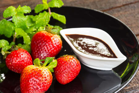 Strawberry with chocolate sauce Fruit or food and snack.