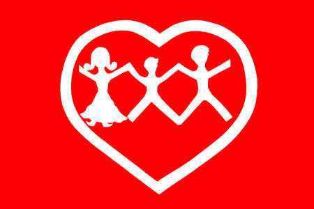Love and family concept.Red background.