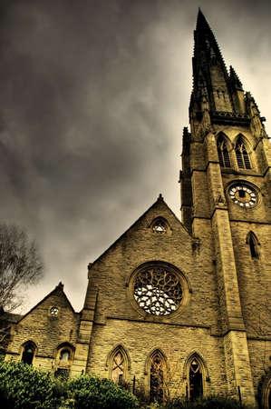 derelict: old derelict church tower Stock Photo