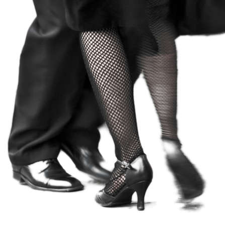 street dance: Movement of two Tango dancers in La Boca, Buenos Aires Argentina Stock Photo