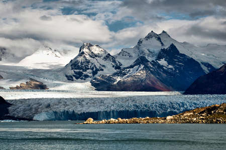 torres del paine: Panaramic view of glaciers and mountains of Patagonia, South America