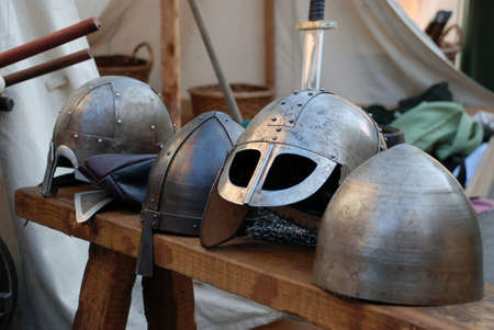 Various Viking war helmets photo
