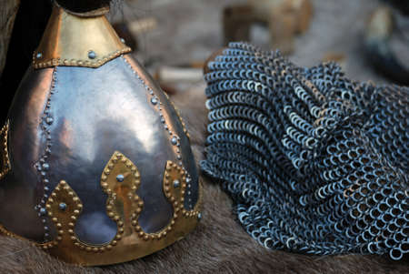 Viking Helmet and chain mail armour photo