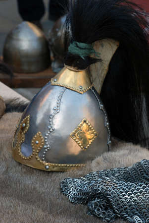 Ancient Viking dress helmet photo