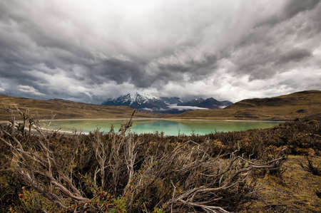 Lago Armago and torres del paine mountains in chilean patagonia photo